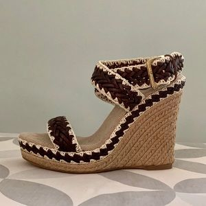 TORY BURCH Paloma Ankle Strap Wedge Size 36 (6)